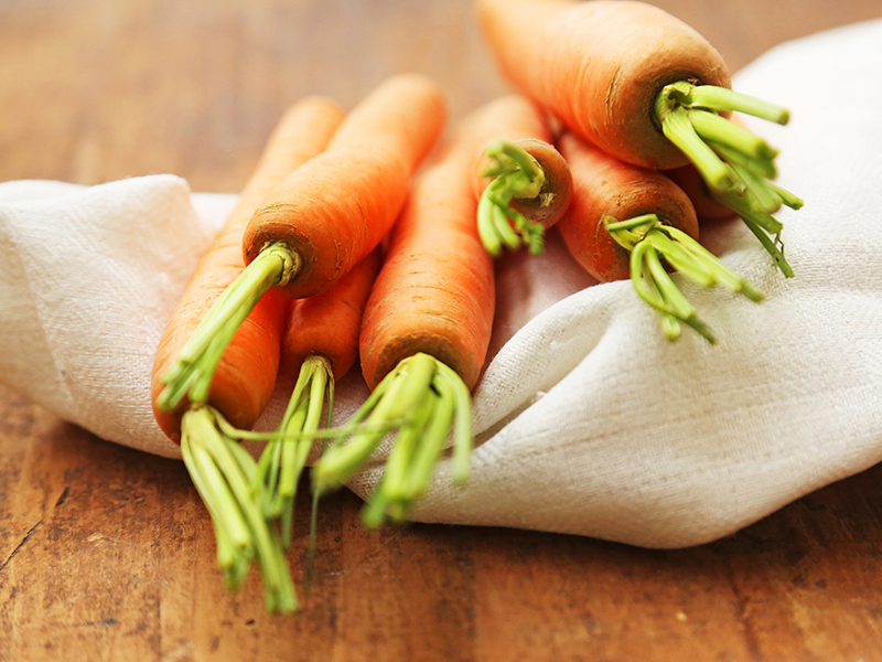 Carrots contain a lot of vitamin A,